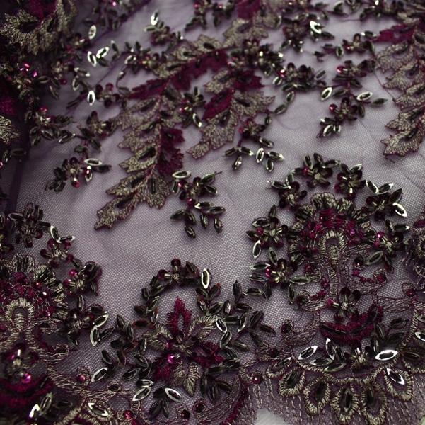 Сетка-вышивка стеклярусом