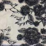 сетка-вышивка синяя